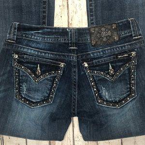 Miss Me Bling Boot Cut Jeans Dark Distressed NWOT